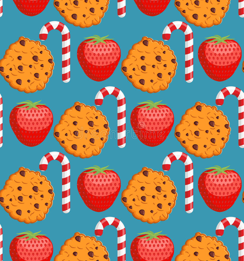 Sweet pattern. Cookies and mint stick ornament. Strawberry background. Peppermint Christmas candy. Dessert texture stock illustration