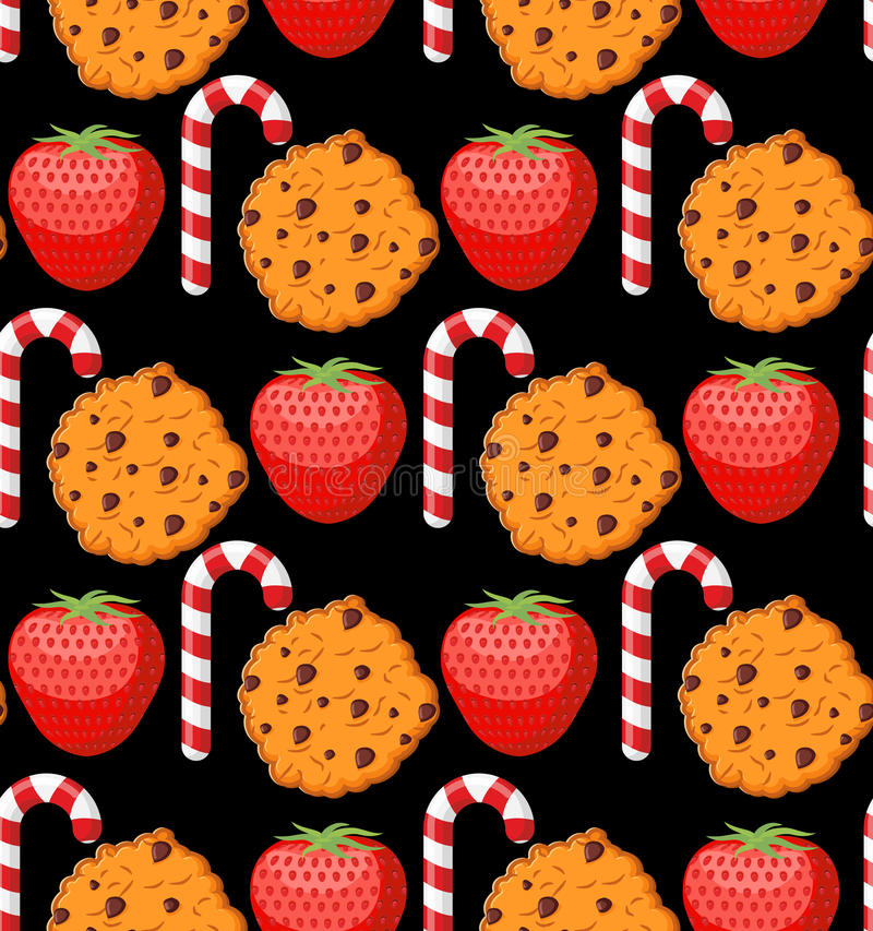 Sweet pattern. Cookies and mint stick ornament. Strawberry background. Peppermint Christmas candy. Dessert texture royalty free illustration