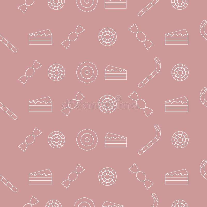 Sweet pattern of lollipops, sweets and cakes vector illustration
