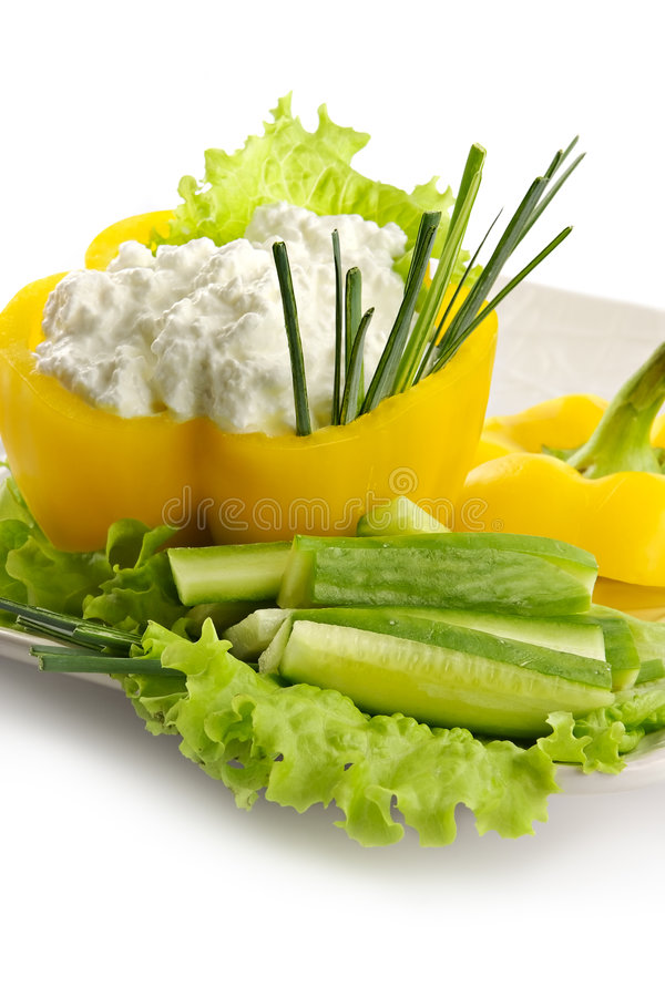Download Sweet Pepper Stuffed With Home Made Cheese Stock Photo - Image of cucumber, leek: 1997662