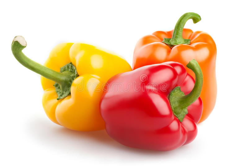 Sweet peppers. Shows a peppers, close up, isolated royalty free stock images