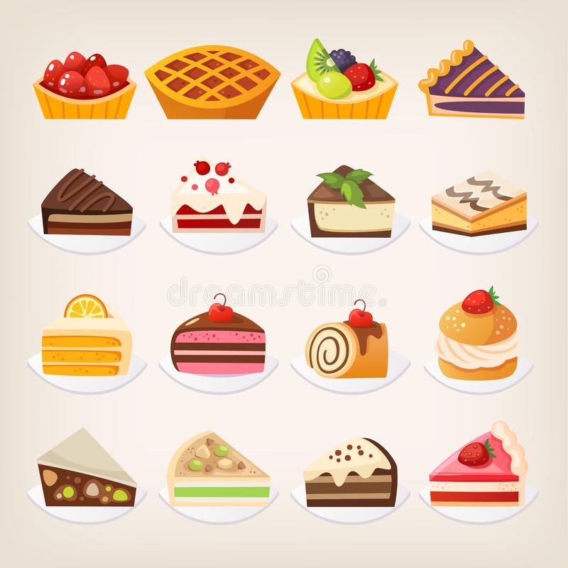 Sweet pies and cakes desserts. Set of colorful pies and cakes and other sweet desserts on plates. Isolated vector illustrations vector illustration