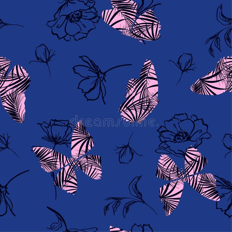 Sweet pink Butterfly fill-in tropical pattern flying on hand sketch doodle flower and leaves seamless vector design for. Fashion, fabric, wallpaper, and all vector illustration