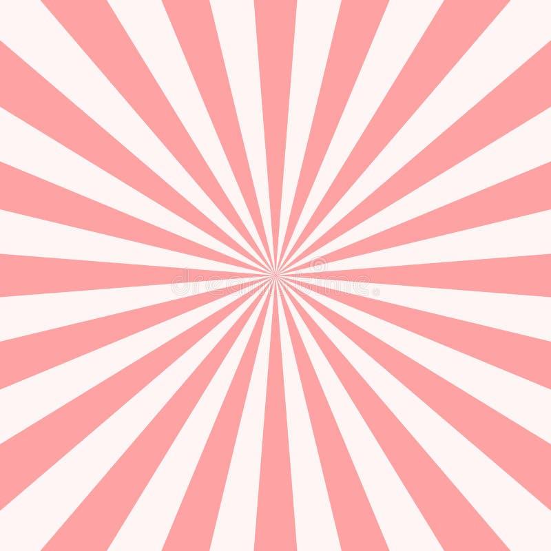 Sweet pink candy retro sunburst background. Sun and rays. Vector illustration stock illustration