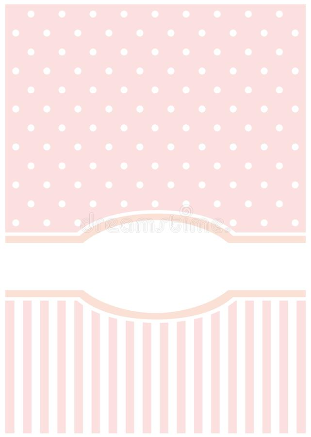 Sweet, Pink Card Or Invitation; White Polka Dots Royalty Free Stock Photography