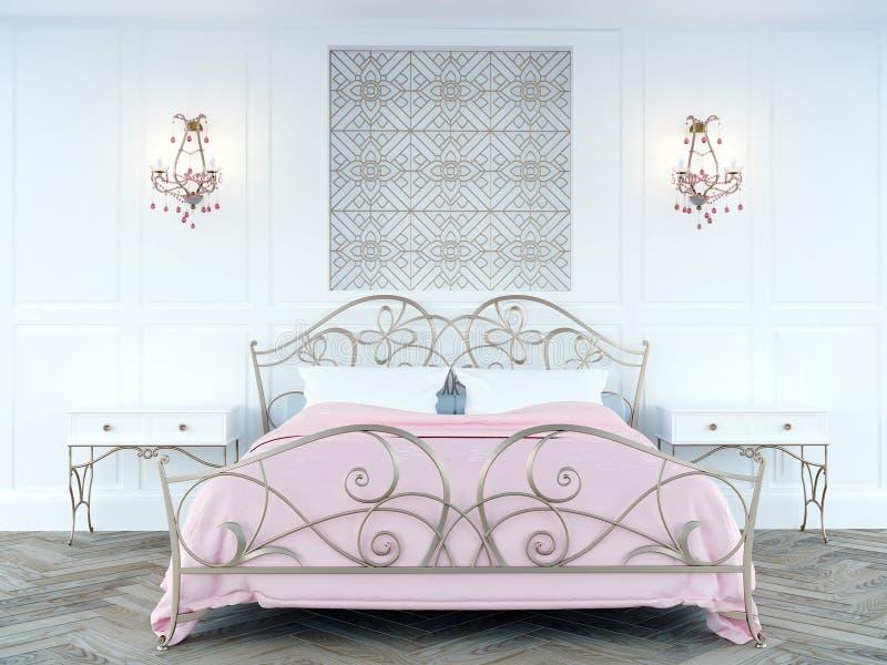 Sweet blush pink color feminine bedroom. Sweet blush  pink color feminine new bride bedroom 3d illustration render design vector illustration