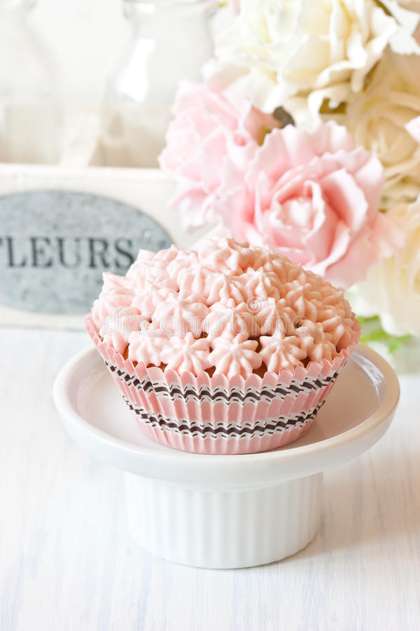 Pink cupcake. royalty free stock photos