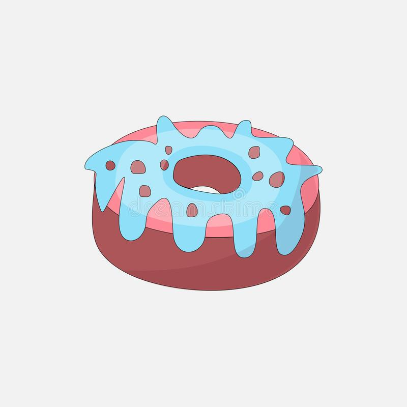 Sweet pink donut cartoon icon with chocolate icon. Vector icon cartooning tasty donut with hole. Sweet pink round donute. With pink and blue decoration isolated vector illustration