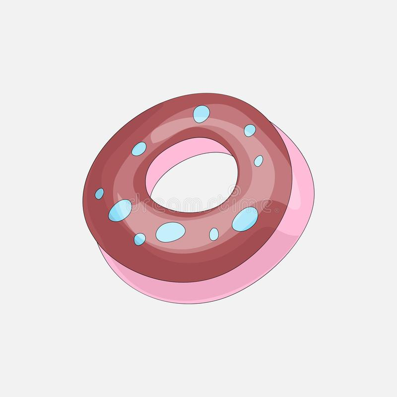 Sweet pink donut cartoon icon with chocolate icon. Vector icon cartooning tasty donut with hole. Sweet pink round donute. With pink decoration isolated on gray stock illustration