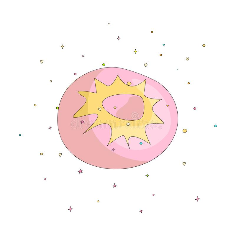 Sweet pink donut cartoon icon with colorful decoration. Vector icon cartooning tasty donut with hole. Sweet pink round. Donute with decoration isolated on white vector illustration