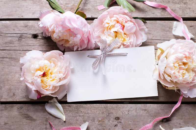 Sweet pink peonies flowers and empty tag on retro wooden backg. Round. Flat lay. Top view with place for text. Selective focus royalty free stock photos