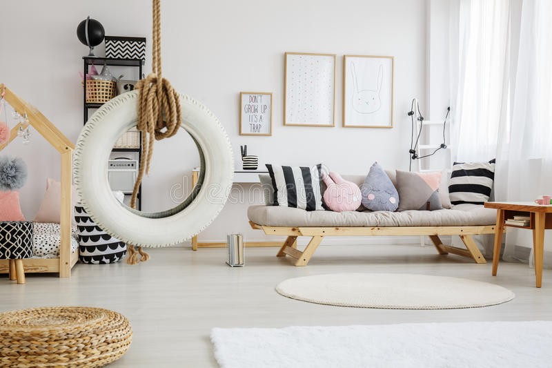 Sweet playroom of child. Sweet pastel modern playroom of child in nordic style stock photos