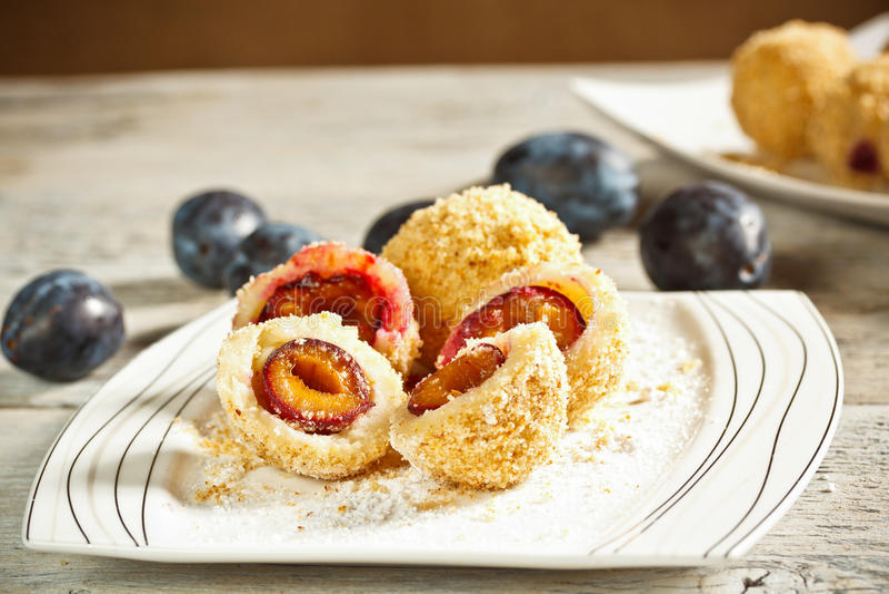 Sweet plum dumplings royalty free stock images