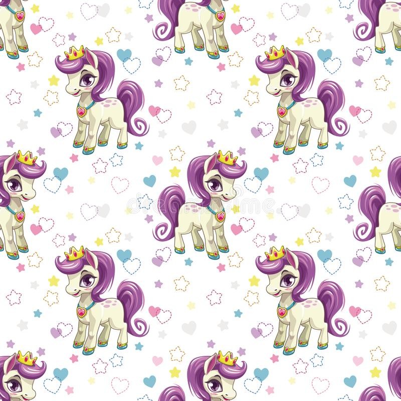 Sweet pony print. Seamless pattern with cute cartoon little horse princess. Hearts and stars on white background. Vector girlish texture royalty free illustration