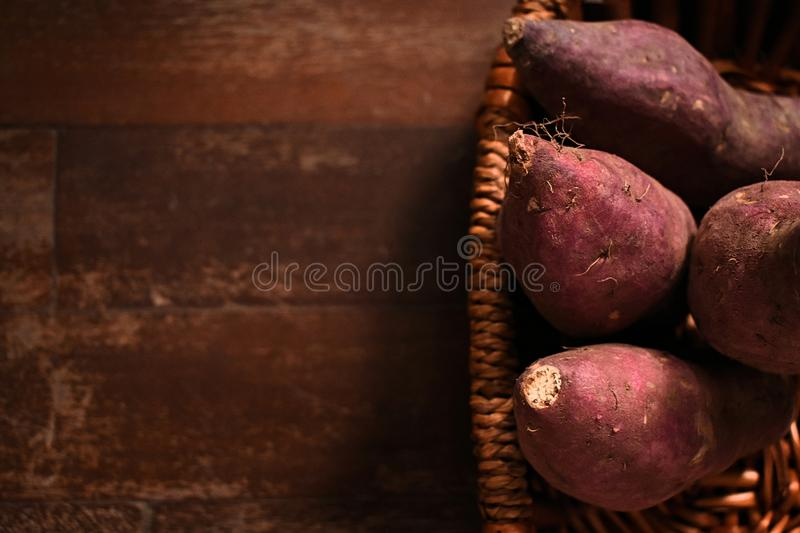 Sweet potato in the basket stock images