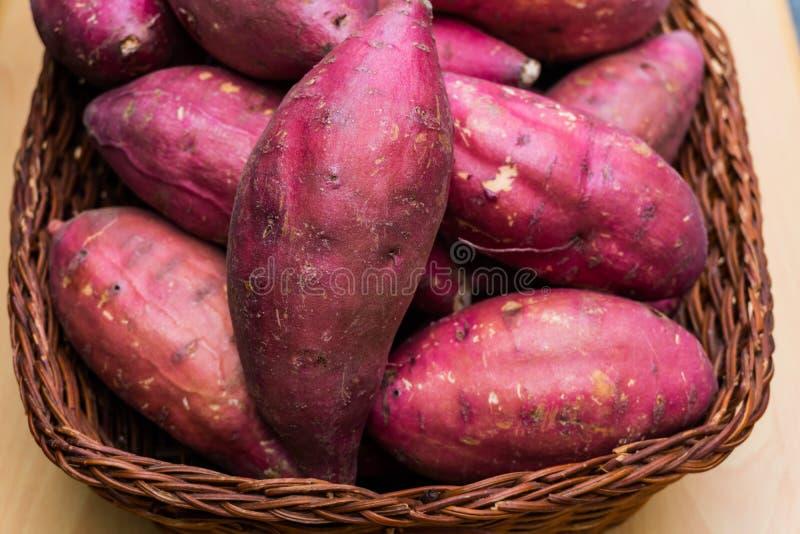 sweet potato in basket stock photo