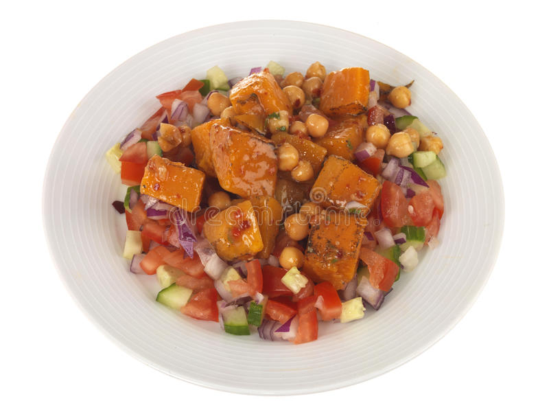 Sweet Potato with Chickpea Salad royalty free stock photo