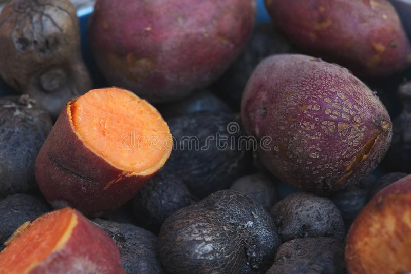 Sweet potato cooked with burn. royalty free stock photography