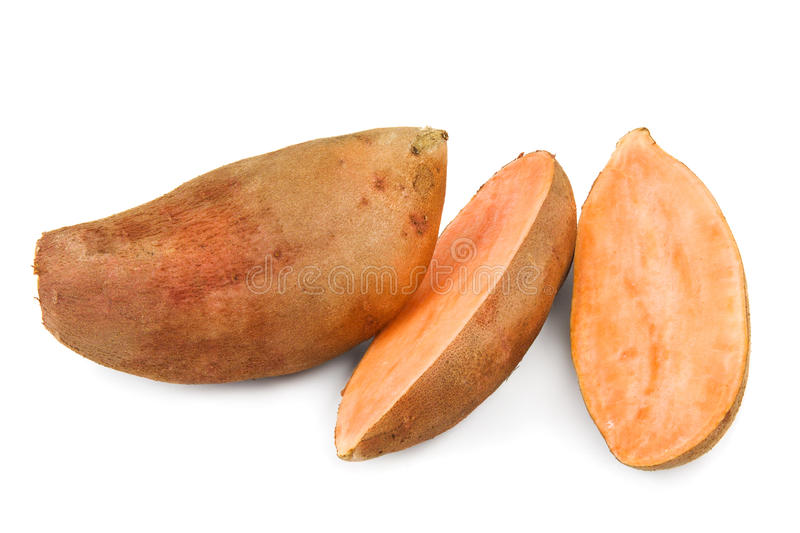 Sweet potatoes on white royalty free stock images