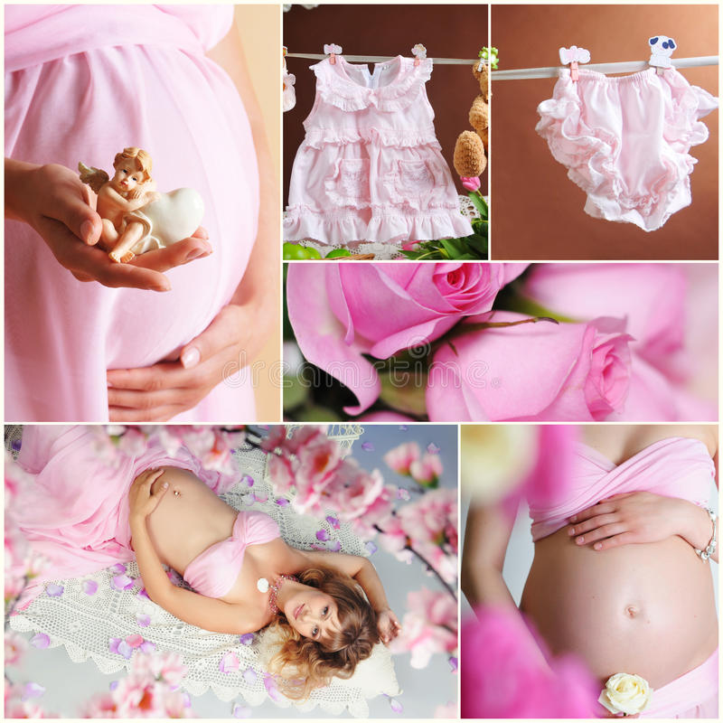Sweet pregnancy. Collage of pictures of pregnant women royalty free stock image