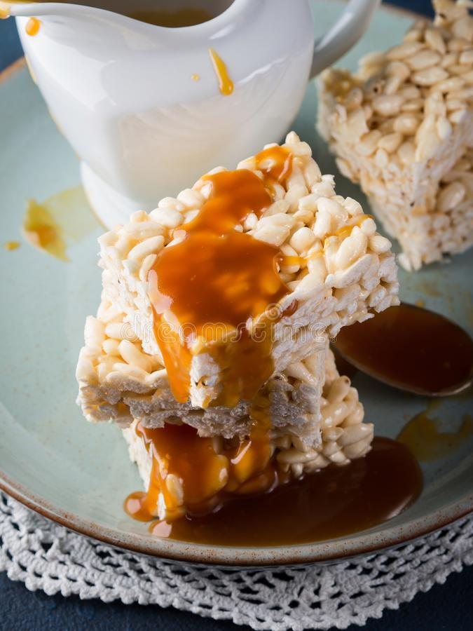 Sweet puffed rice bars with caramel stock photography
