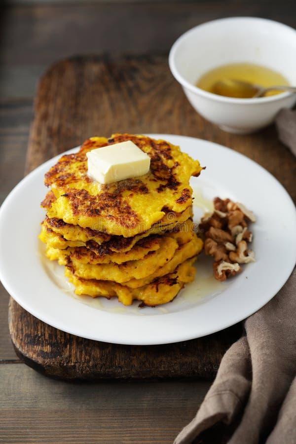 Sweet pumpkin pancakes stock photography