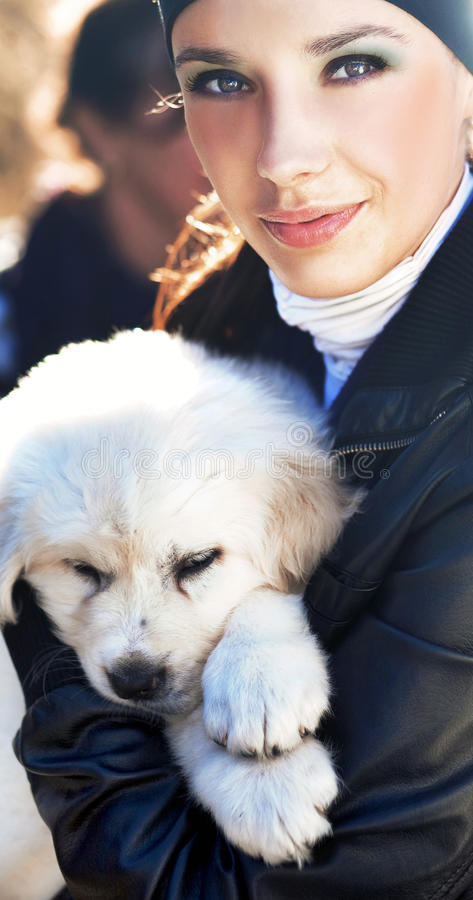 Sweet Pup With Pretty Girl Royalty Free Stock Image