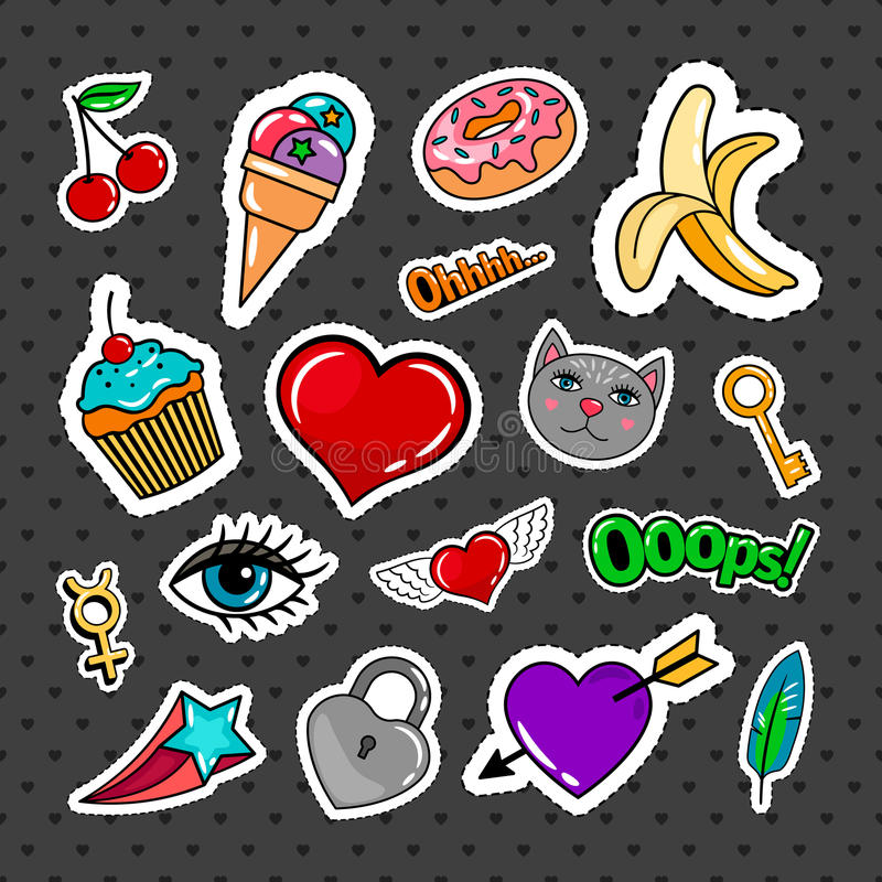 Sweet quirky badges set. With food, hearts and cat on dark background. Vector colorful stickers and patches collection vector illustration