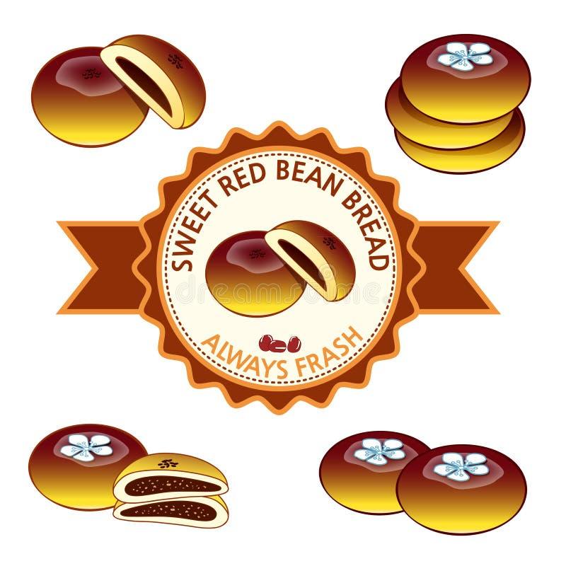 Sweet red bean bread stock photos