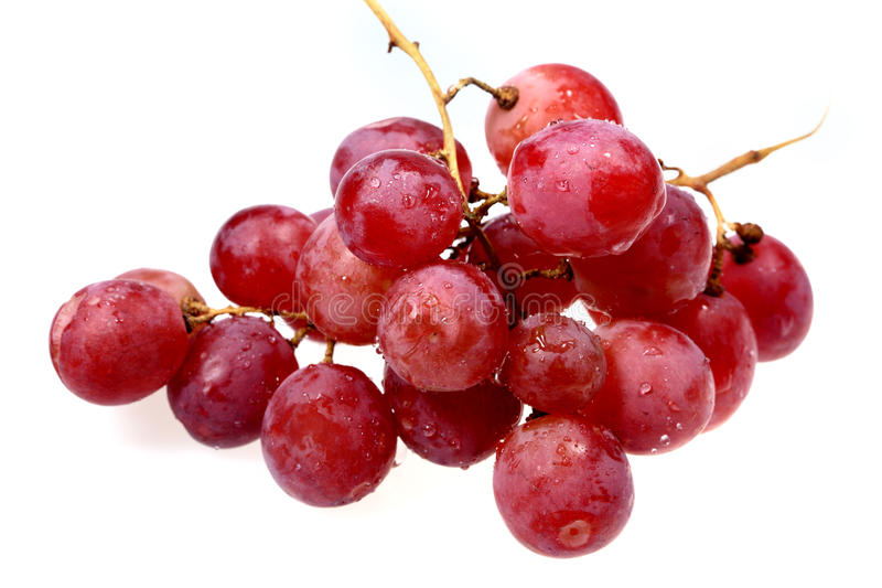 Sweet red grapes. Hand of ripe sweet grapes for dessert royalty free stock photo