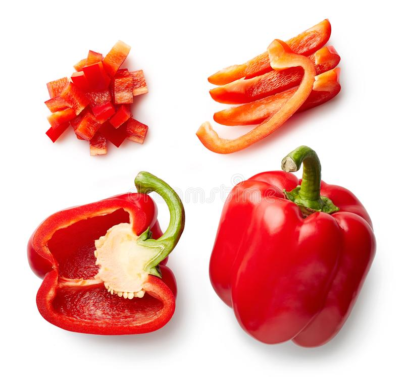 Download Sweet Red Pepper Isolated On White Stock Photo - Image of view, pepper: 108381902