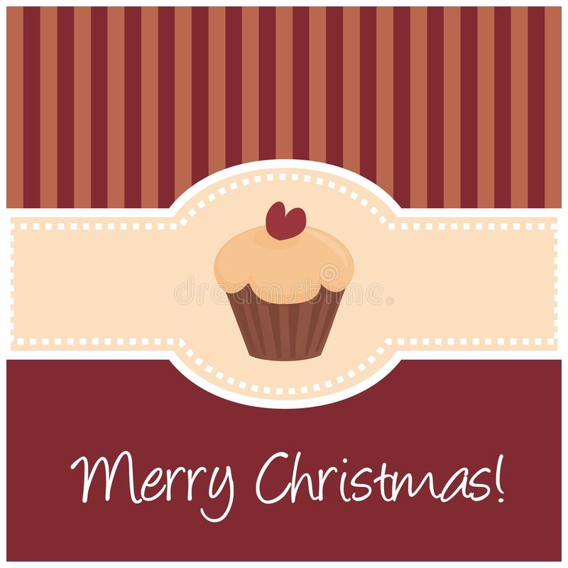 Download Sweet Retro Christmas Card With Muffin Cupcake Stock Vector - Image: 21928522