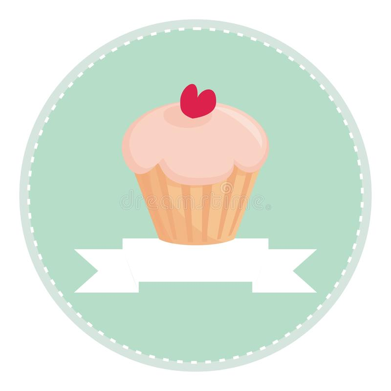 Download Sweet Retro Cupcake With Heart And Place For Text Stock Vector - Image: 21572363