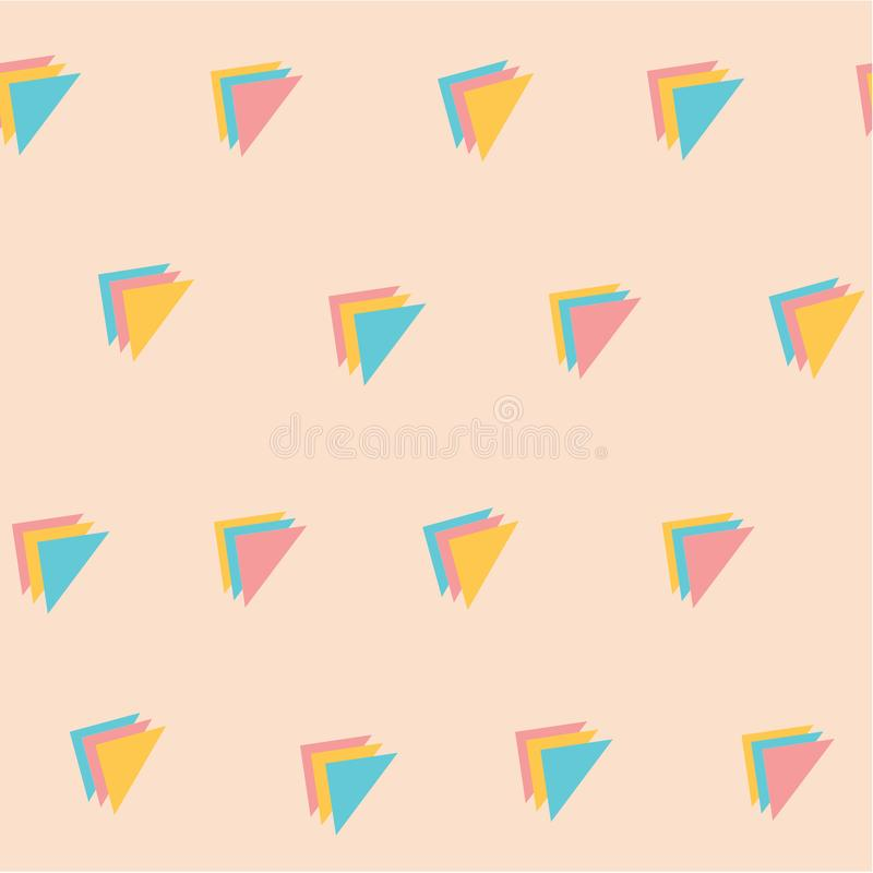 Sweet pastel colour triple triangle pattern seamless background. Sweet retro pastel colour style stacked triple triangle pattern seamless background royalty free illustration