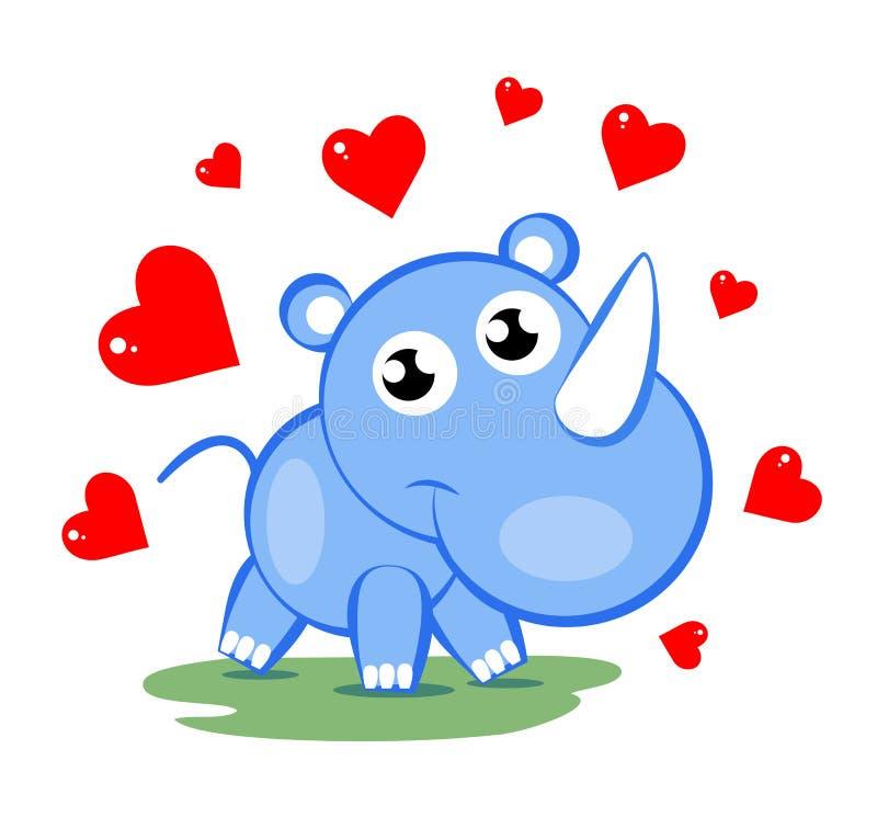 Sweet rhinoceros. Illustration of cute blue rhinoceros with red hearts stock illustration