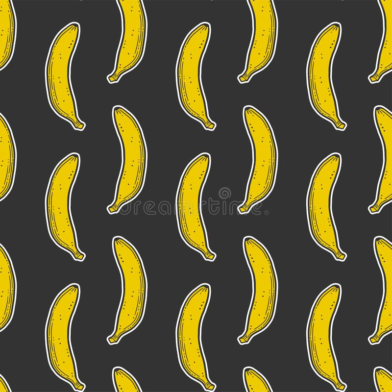 Sweet ripe banana. Vector concept in doodle and sketch style. Hand drawn illustration for printing on T-shirts, postcards. Seamless pattern for textile, paper royalty free stock photos