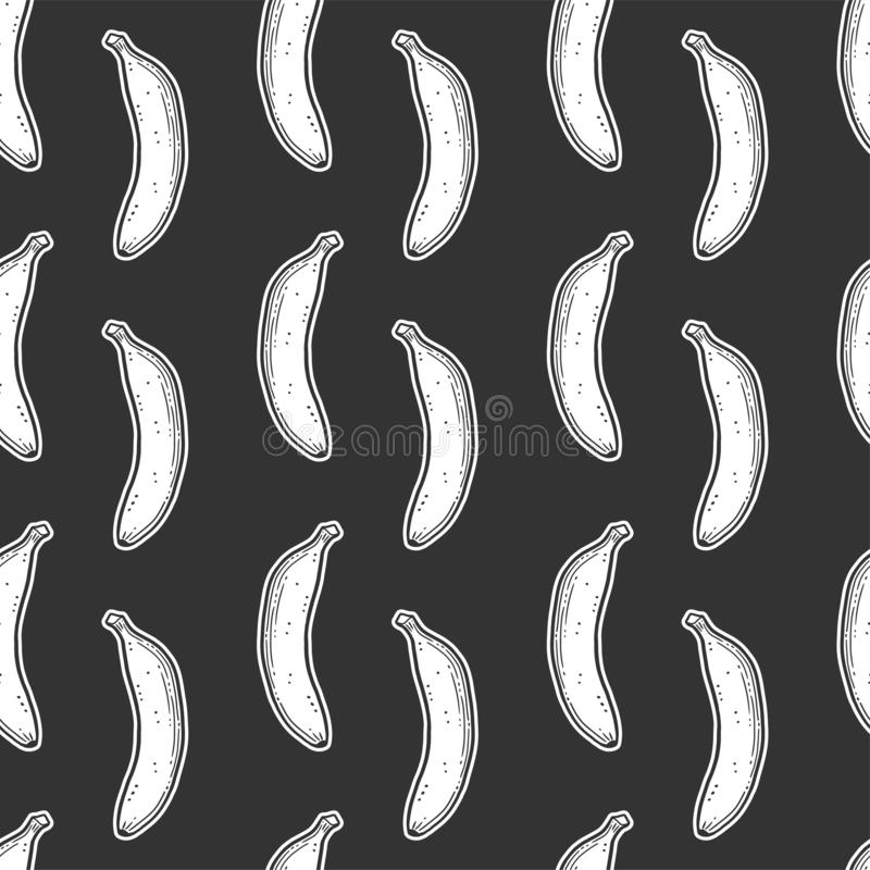Sweet ripe banana. Vector concept in doodle and sketch style. Hand drawn illustration for printing on T-shirts, postcards. Seamless pattern for textile, paper vector illustration