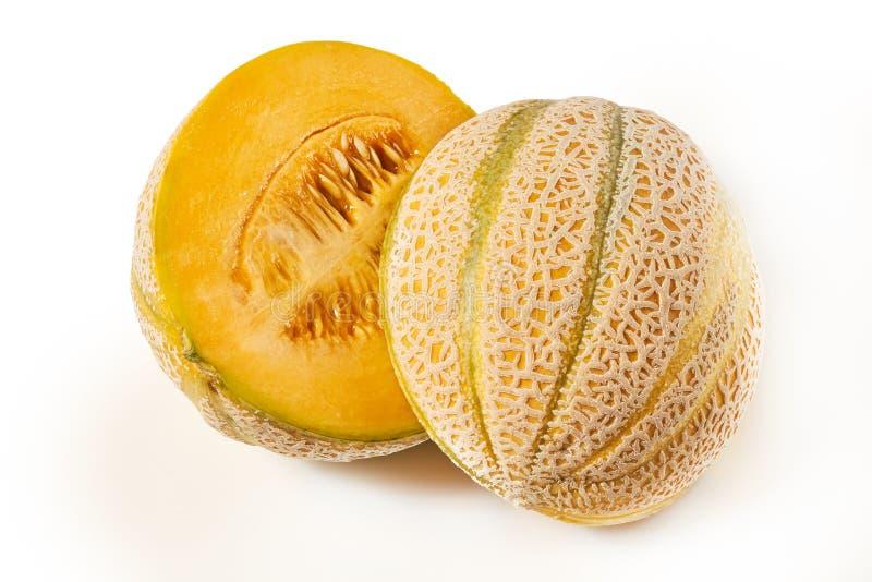 Sweet ripe cantaloupe. Melon on white background royalty free stock photos