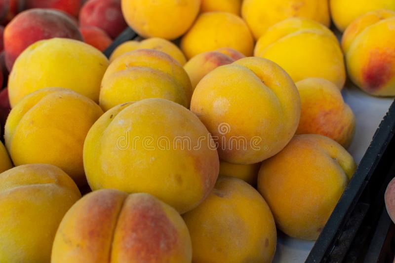 Sweet ripe juicy yellow peaches, healthy organic fruits stock photography