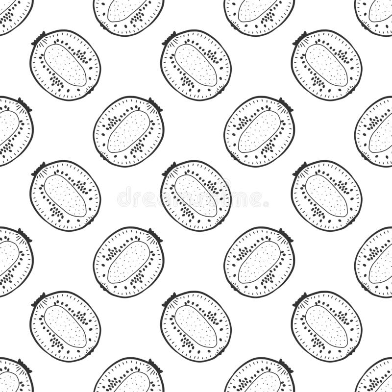Sweet ripe kiwi. Vector concept in doodle and sketch style. Hand drawn illustration for printing on T-shirts, postcards. Seamless pattern for textile, paper stock illustration