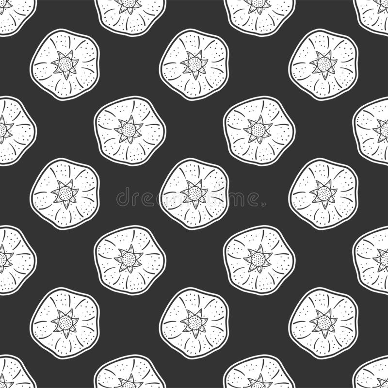 Sweet ripe pomegranate. Vector concept in doodle and sketch style. Hand drawn illustration for printing on T-shirts, postcards. Seamless pattern for textile stock illustration