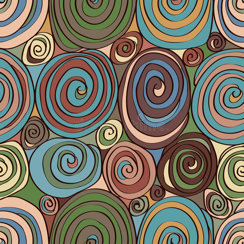 Sweet roll abstract seamless pattern. Illustration food sweet roll cake abstract seamless pattern retro chocolate color background design graphic royalty free illustration