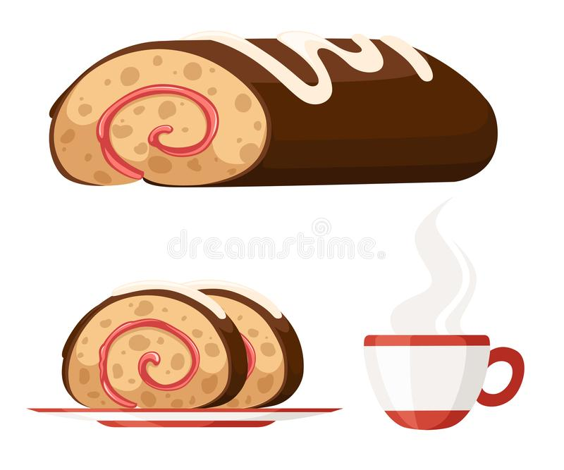 Sweet roll cake on white plate. Chocolate swiss roll. Sweet cake with tea cup, Flat  illustration isolated on white stock illustration