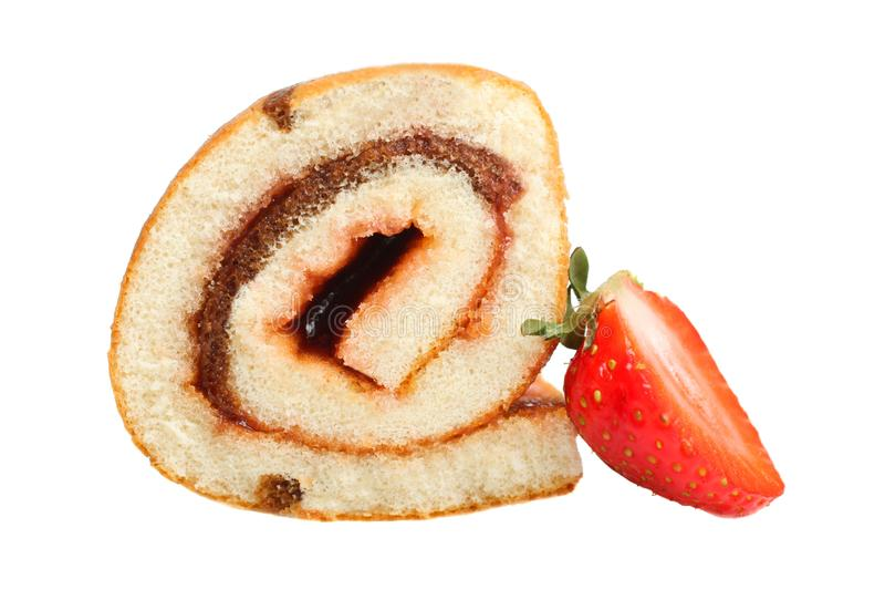 Sweet roll with jam and strawberries. Sweet roll with jam and fresh strawberries isolated on white royalty free stock photography