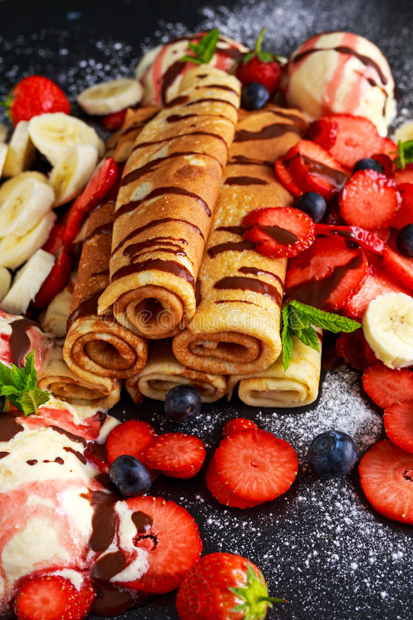 Sweet Rolled Pancakes With Nutella, Strawberry, Blueberry ...