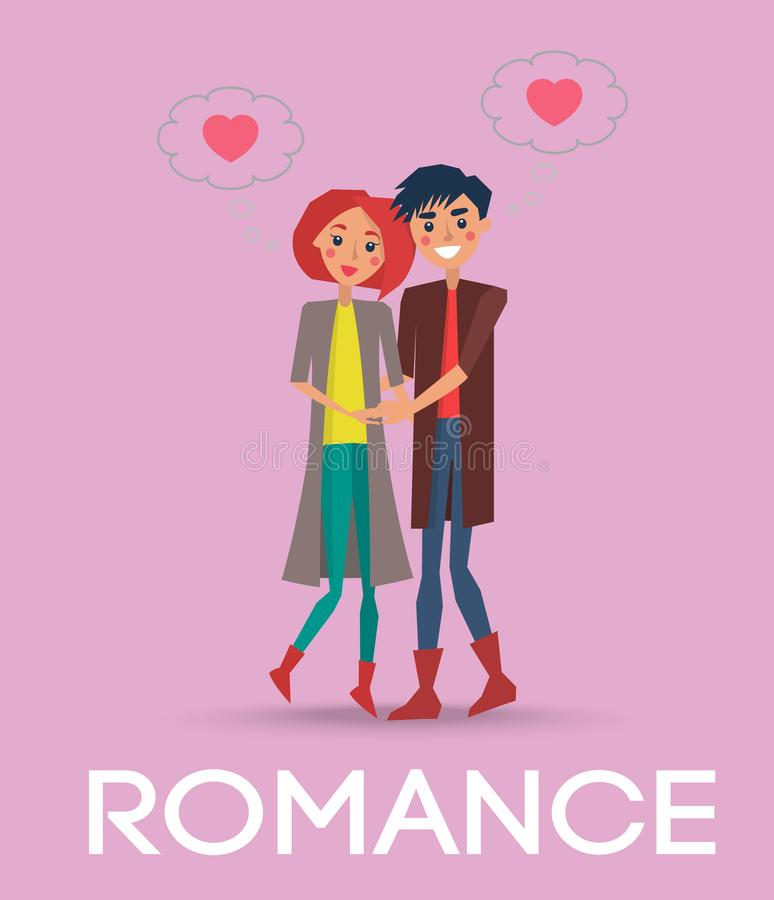 Sweet Romance Couple and Clouds with Two Hearts. Sweet romance couple and cumulus clouds with two hearts on pink background. Vector illustration of red-haired stock illustration