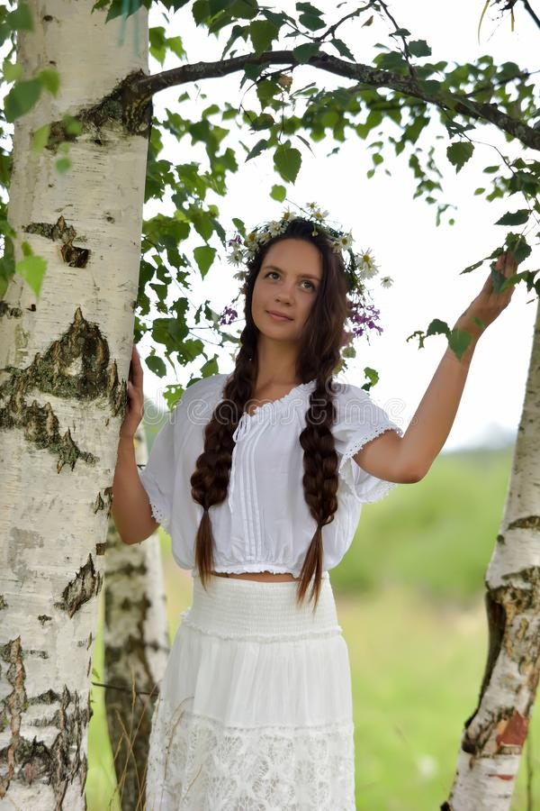 Sweet Russian Girl Girl In A White Birch In The Summer