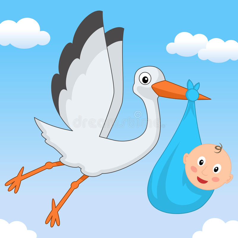 Sweet It's a Boy Stork Flying in the Sky stock photography