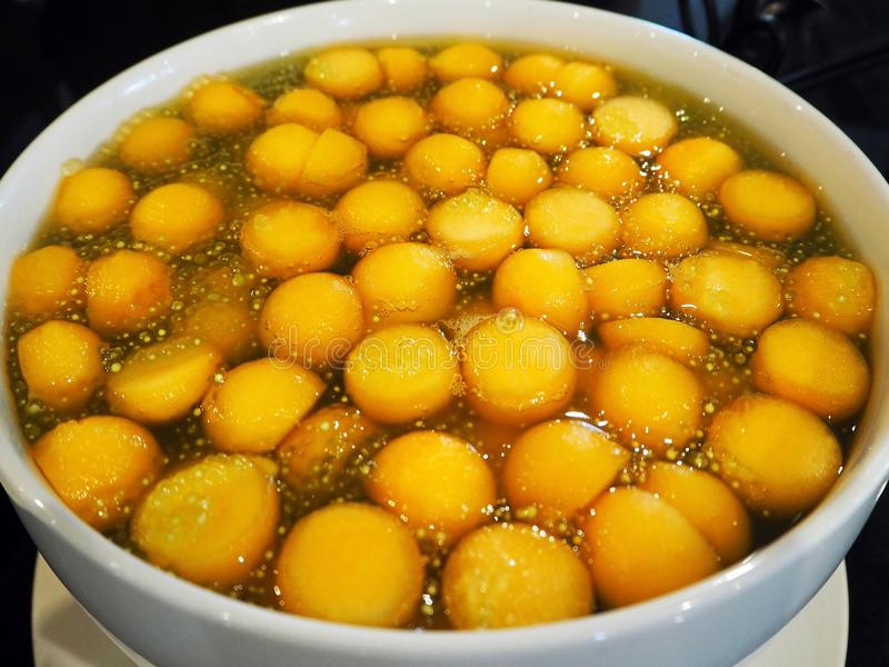 Sweet Sago Dessert with Cantaloupe Balls. Close-up image of Thai dessert; sweet sago with Cantaloupe balls royalty free stock images