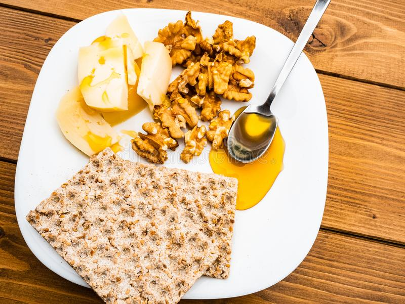 Sweet and salty breakfast in the very healthy Italian healthy outdoor with homemade cow`s milk cheese stock photo